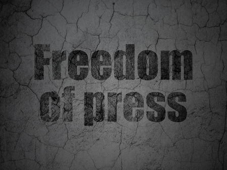 Political concept: Black Freedom Of Press on grunge textured concrete wall background Stock Photo