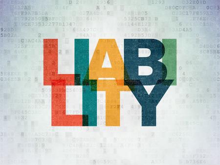 Insurance concept: Painted multicolor text Liability on Digital Data Paper background Banco de Imagens