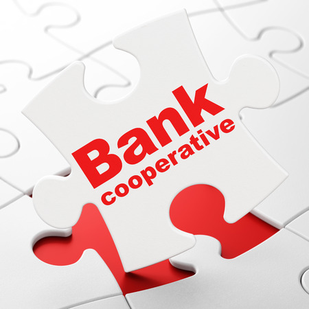 Money concept: Bank Cooperative on White puzzle pieces background, 3D rendering