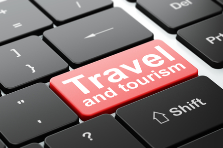 Travel concept: computer keyboard with word Travel And Tourism, selected focus on enter button background, 3D rendering