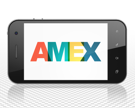 Stock market indexes concept: Smartphone with Painted multicolor text AMEX on display, 3D rendering