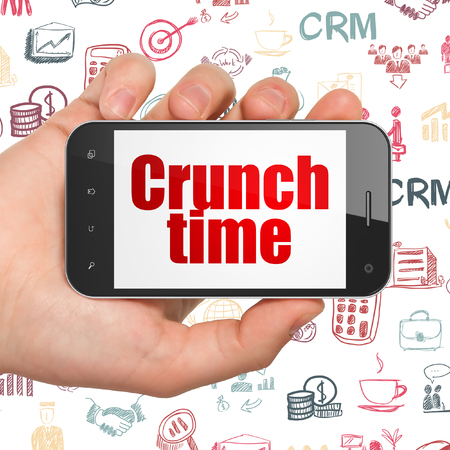 Finance concept: Hand Holding Smartphone with  red text Crunch Time on display,  Hand Drawn Business Icons background, 3D rendering