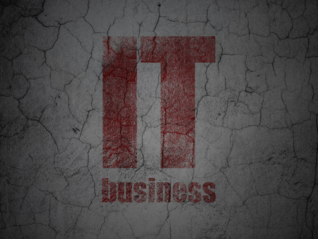 Business concept: Red IT Business on grunge textured concrete wall background Reklamní fotografie - 101333526