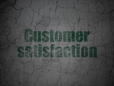 Advertising concept: Green Customer Satisfaction on grunge textured concrete wall background