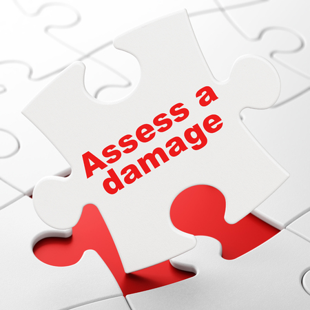 Insurance concept: Assess A Damage on White puzzle pieces background, 3D rendering Stock Photo