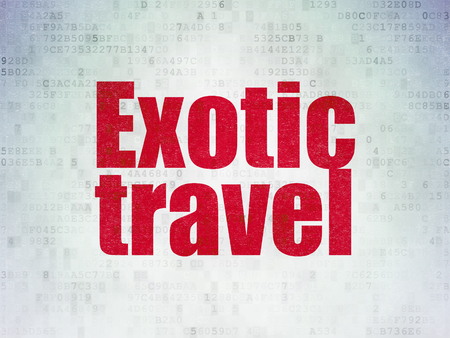 Travel concept: Painted red word Exotic Travel on Digital Data Paper background Фото со стока
