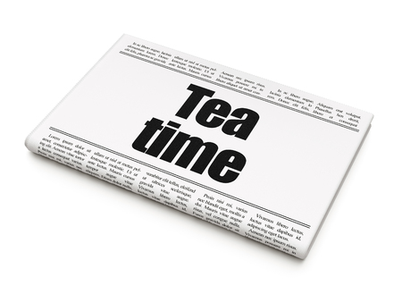 Timeline concept: newspaper headline Tea Time on White background, 3D rendering