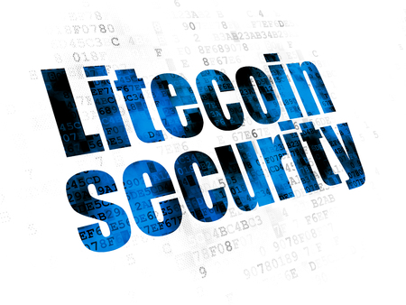Cryptocurrency concept: Pixelated blue text Litecoin Security on Digital background