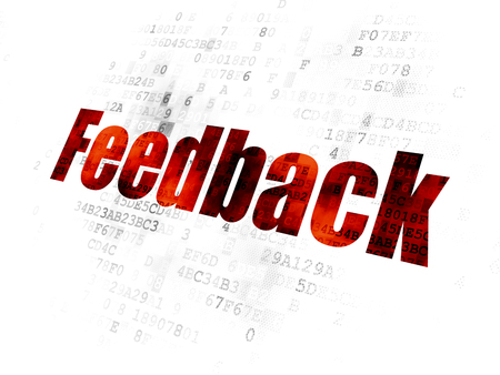 Business concept: Pixelated red text Feedback on Digital background Stock Photo