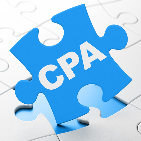 Finance concept: CPA on Blue puzzle pieces background, 3D rendering