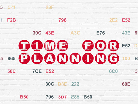 Timeline concept: Painted red text Time for Planning on White Brick wall background with Hexadecimal Code