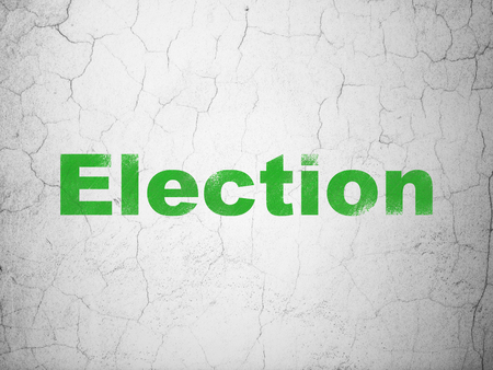 Political concept: Green Election on textured concrete wall background