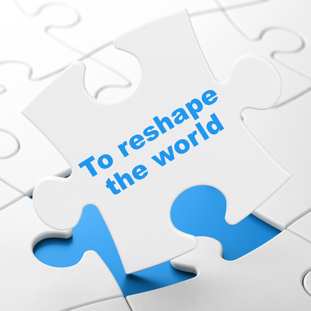 Politics concept: To reshape The world on White puzzle pieces background, 3D rendering Stock Photo
