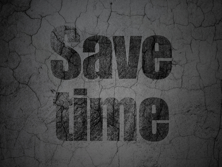 Timeline concept: Black Save Time on grunge textured concrete wall background
