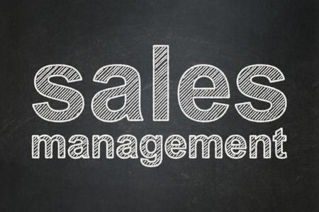 Advertising concept: text Sales Management on Black chalkboard background Banco de Imagens
