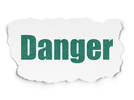 Safety concept: Painted green text Danger on Torn Paper background with  Hexadecimal Code