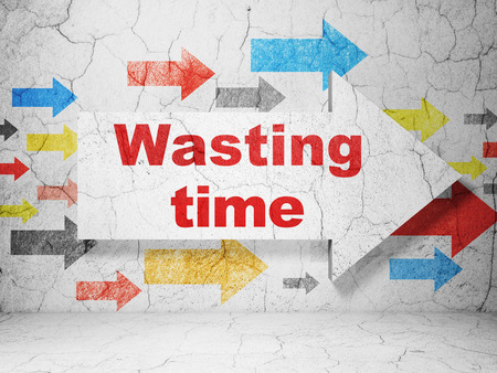 Time concept:  arrow with Wasting Time on grunge textured concrete wall background, 3D rendering