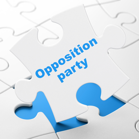 Political concept: Opposition Party on White puzzle pieces background, 3D rendering