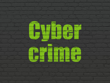 Privacy concept: Painted green text Cyber Crime on Black Brick wall background