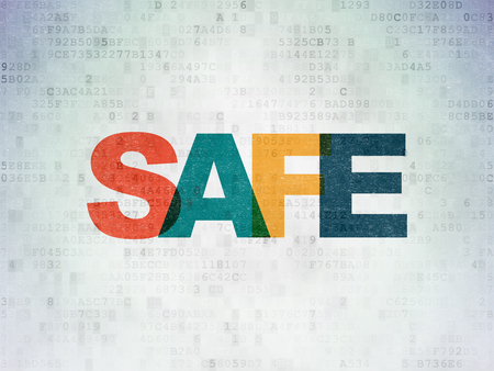 Safety concept: Painted multicolor text Safe on Digital Data Paper background