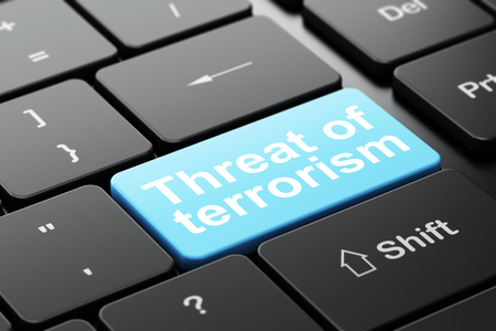 Political concept: computer keyboard with word Threat Of Terrorism, selected focus on enter button background, 3D rendering Banco de Imagens