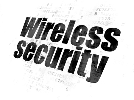 Security concept: Pixelated black text Wireless Security on Digital background