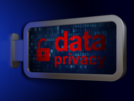 Security concept: Data Privacy and Opened Padlock on advertising billboard background, 3D rendering