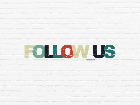Social media concept: Painted multicolor text Follow us on White Brick wall background