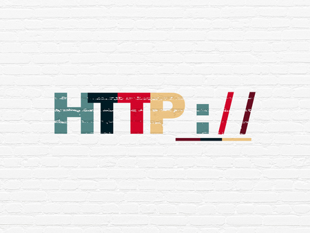 Web design concept: Painted multicolor text Http : / / on White Brick wall background 版權商用圖片