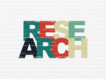 Marketing concept: Painted multicolor text Research on White Brick wall background