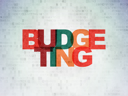 Business concept: Painted multicolor text Budgeting on Digital Data Paper background