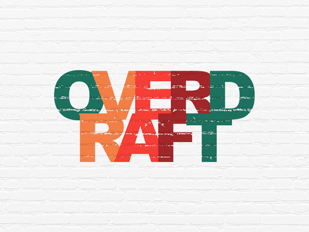 Business concept: Painted multicolor text Overdraft on White Brick wall background