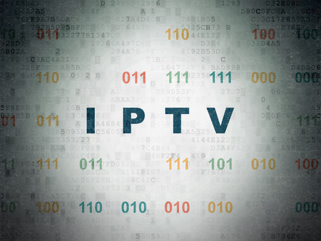 Web design concept: Painted blue text IPTV on Digital Data Paper background with Binary Code