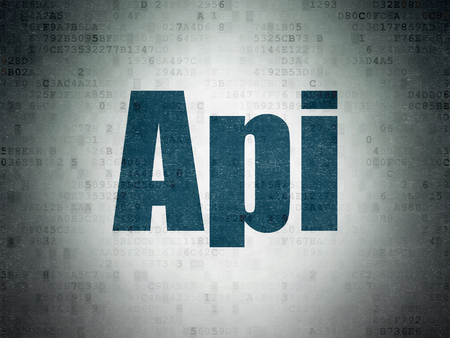 Software concept: Painted blue word Api on Digital Data Paper background
