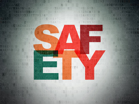 Safety concept: Painted multicolor text Safety on Digital Data Paper background Foto de archivo