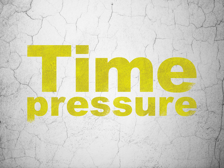 Timeline concept: Yellow Time Pressure on textured concrete wall background Stock Photo - 102622123