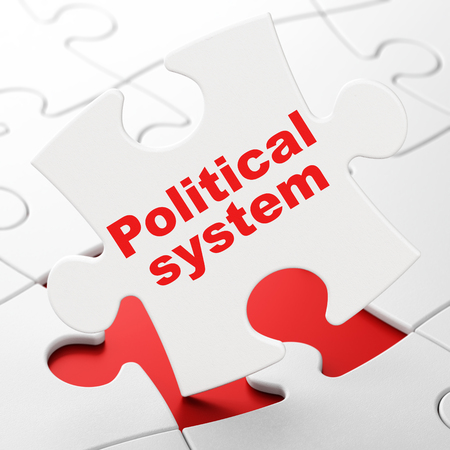 Political concept: Political System on White puzzle pieces background, 3D rendering Stock Photo