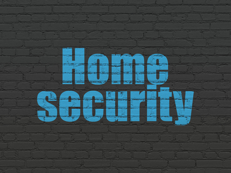 Safety concept: Painted blue text Home Security on Black Brick wall background