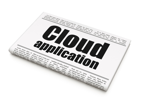 Cloud technology concept: newspaper headline Cloud Application on White background, 3D rendering Stockfoto