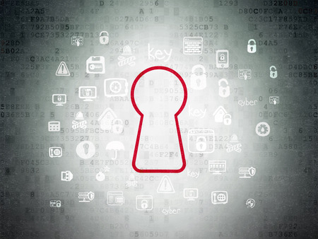 Security concept: Painted red Keyhole icon on Digital Data Paper background with  Hand Drawn Security Icons
