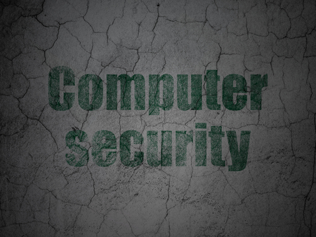Privacy concept: Green Computer Security on grunge textured concrete wall background Stock Photo
