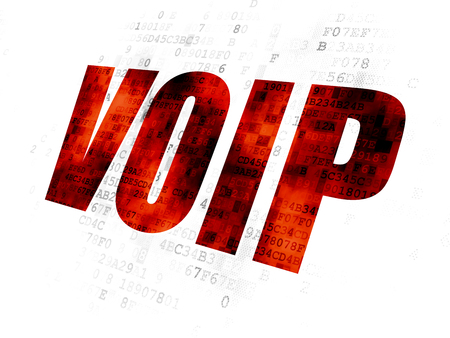 Web development concept: Pixelated red text VOIP on Digital background