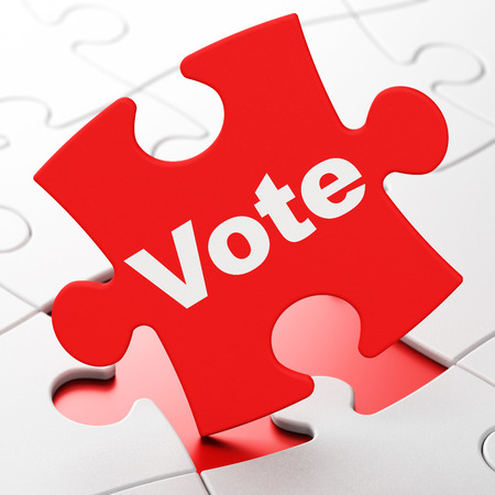 Political concept: Vote on Red puzzle pieces background, 3D rendering