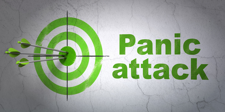 Success Medicine concept: arrows hitting the center of target, Green Panic Attack on wall background, 3D rendering