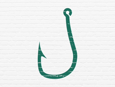 Security concept: Painted green Fishing Hook icon on White Brick wall background