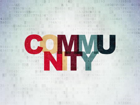 Social media concept: Painted multicolor text Community on Digital Data Paper background