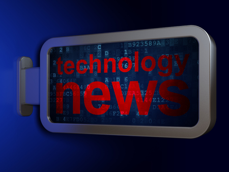 News concept: Technology News on advertising billboard background, 3D rendering