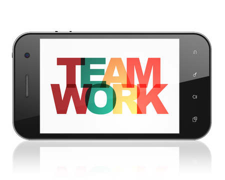 Business concept: Smartphone with Painted multicolor text Teamwork on display, 3D rendering Banco de Imagens