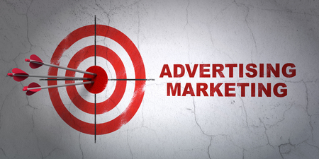 Success finance concept: arrows hitting the center of target, Red Advertising Marketing on wall background, 3D rendering Stock Photo
