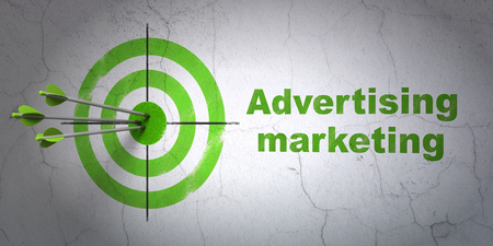 Success marketing concept: arrows hitting the center of target, Green Advertising Marketing on wall background, 3D rendering